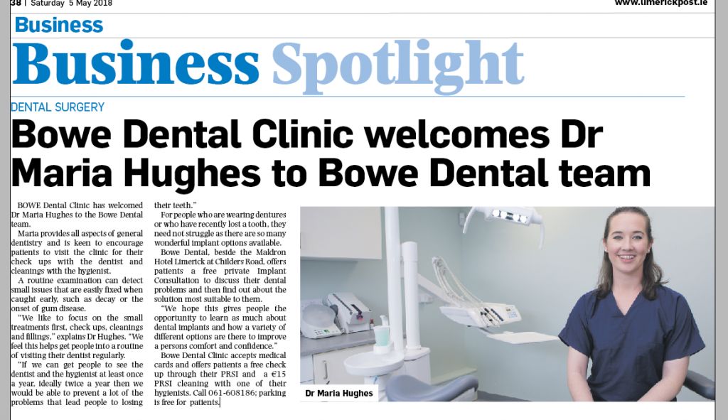 Bowe Dental Clinic welcomes Dr Maria Hughes