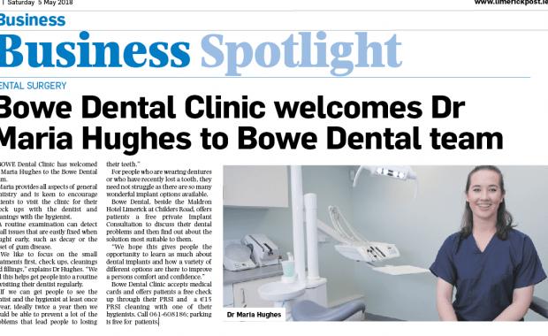 Bowe Dental Clinic welcomes Dr Maria Hughes